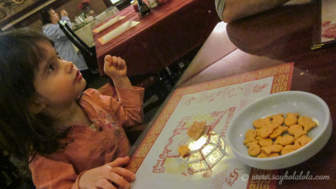 Lola was given Goldfish crackers as an appetizer at our new favorite Chinese restaurant.