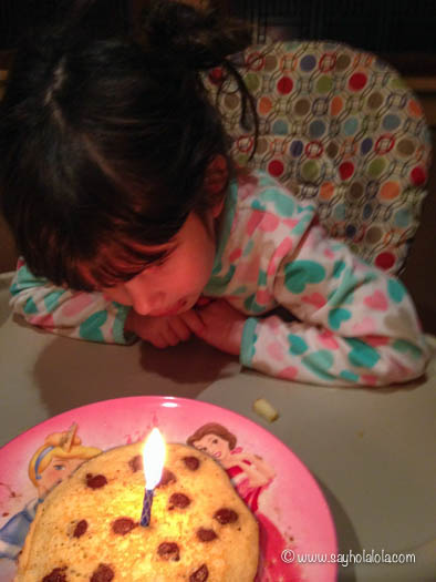 And eating chocolate chip birthday pancakes.